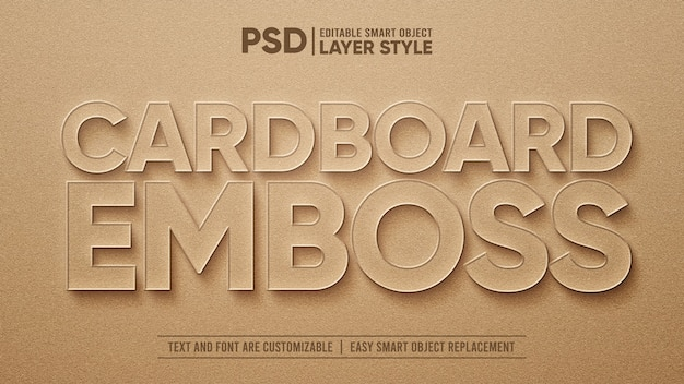 Brown cardboard paper 3d emboss realistic text effect template Premium Psd