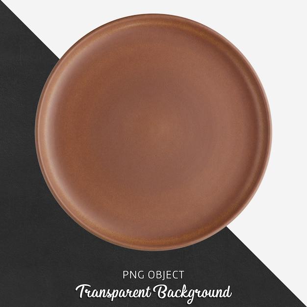 Brown ceramic round plate on transparent background Premium Psd