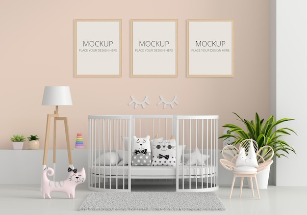 Brown child room interior with frame mockup Premium Psd