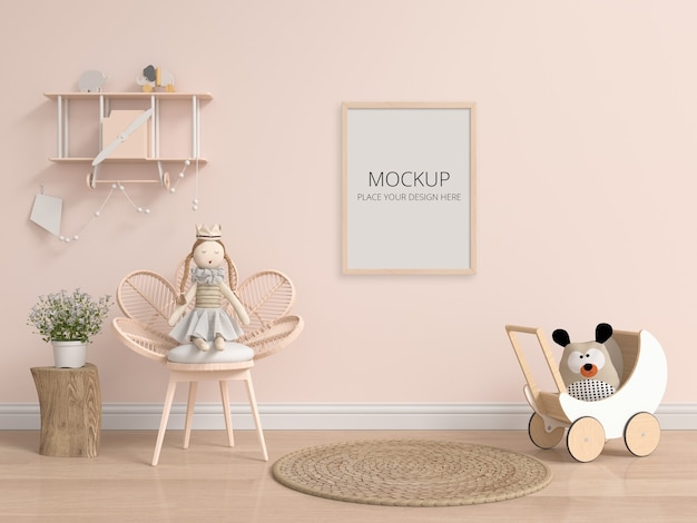 Brown child room with frame mockup Premium Psd