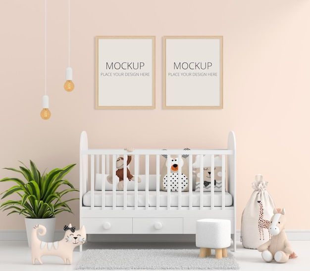 Brown child room with picture frame mockup Free Psd