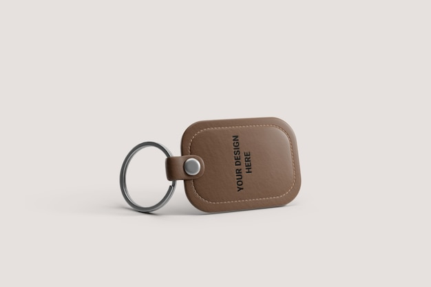 Brown leather keyring mockup Premium Psd