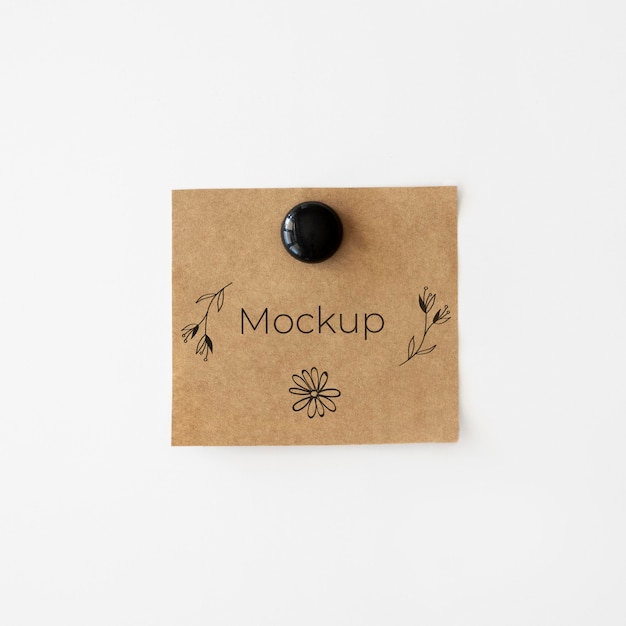 Brown mock-up card with flowers Free Psd