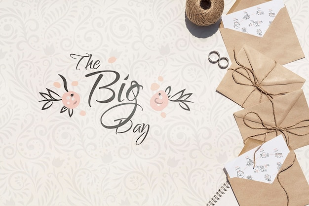 Brown paper envelopes with my big day quote lettering Free Psd