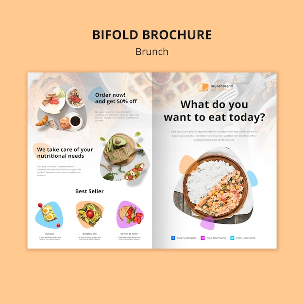Brunch brochure template concept Free Psd