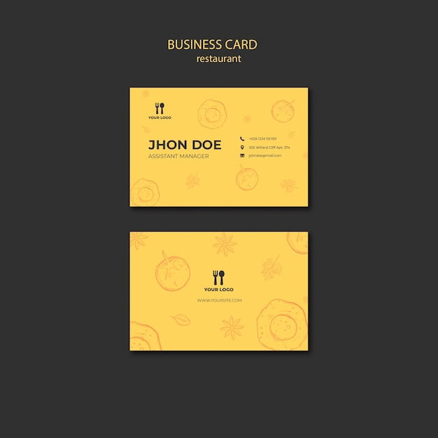 Brunch concept business card template Free Psd