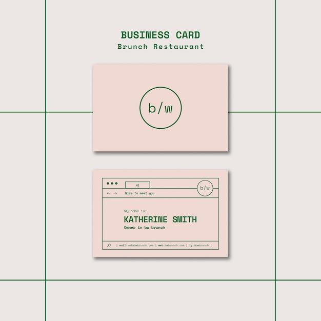Brunch restaurant business card template set Free Psd