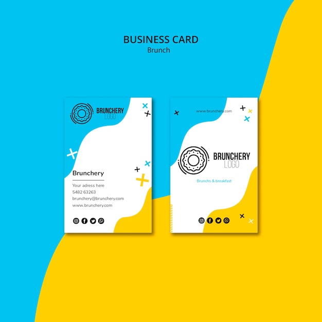 Brunch restaurant business card template Free Psd