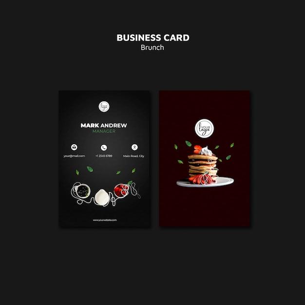 Brunch restaurant design business card Free Psd