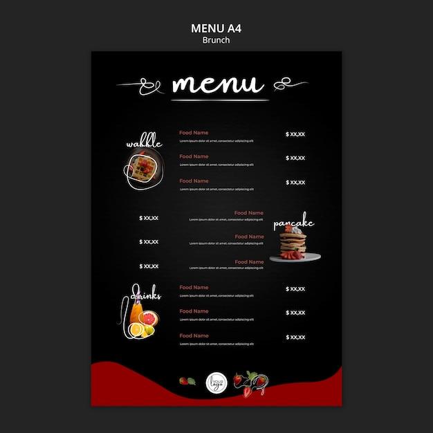 Brunch restaurant food and drinks menu Free Psd