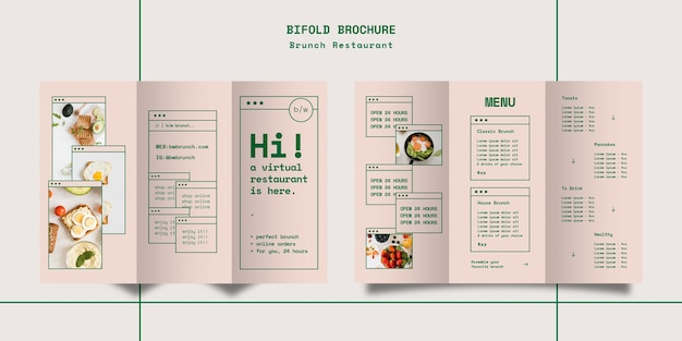Brunch restaurant trifold brochure template Free Psd