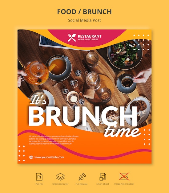 Brunch social media instagram post template Premium Psd