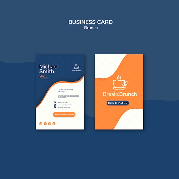 Brunch theme for business card template Free Psd