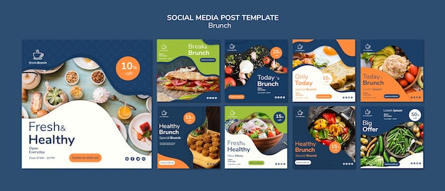 Brunch theme for social media post template Free Psd