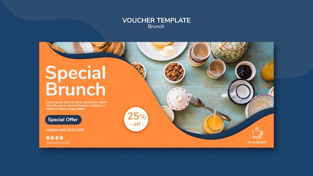 Brunch theme for voucher template theme Free Psd
