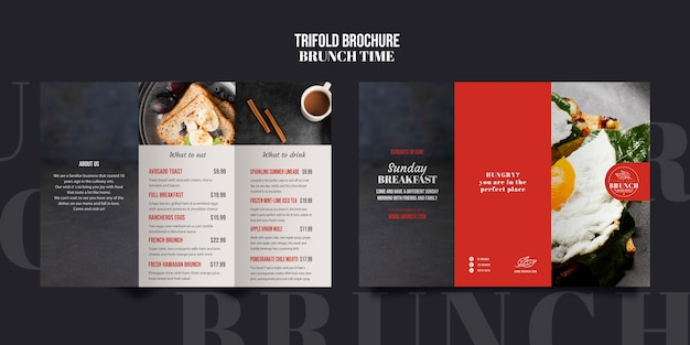 Brunch time trifold brochure template Free Psd
