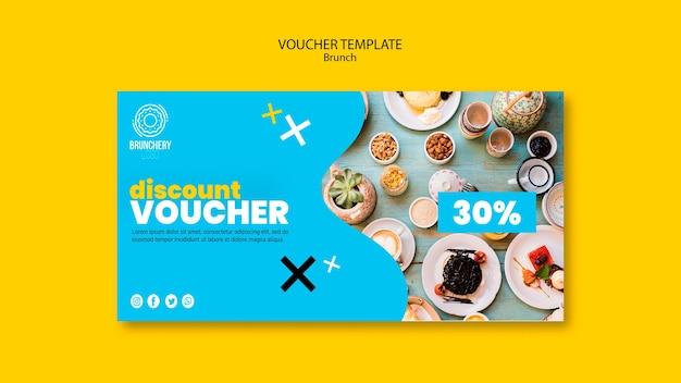 Brunch voucher template with discount Premium Psd