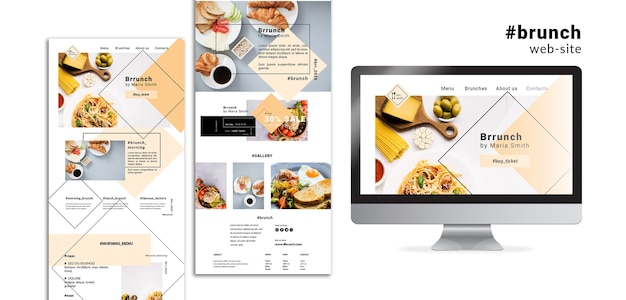 Brunch web site landing pages Free Psd