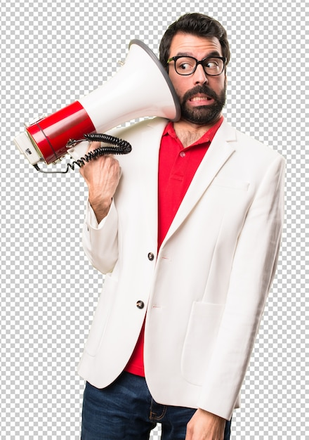 Brunette man with glasses holding a megaphone Premium Psd