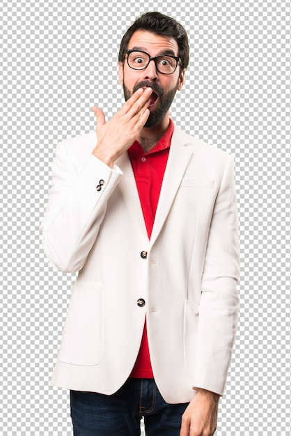 854245c5c20 Brunette man with glasses making surprise gesture PSD file