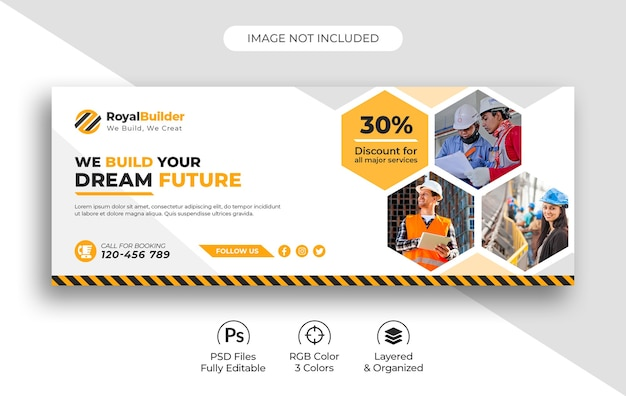 Building construction & renovation social media facebook cover template Premium Psd