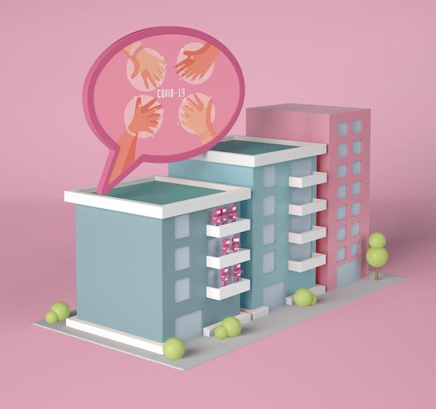 Edifici con bolla di chat coronavirus Psd Gratuite