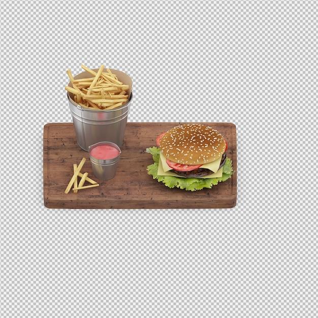 Burger 3d isolated render Premium Psd