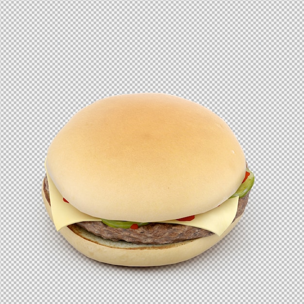 Burger 3d isolated render Premium Psd