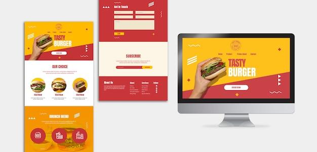 ハンバーガーアメリカンフードランディングページテンプレート 無料 Psd