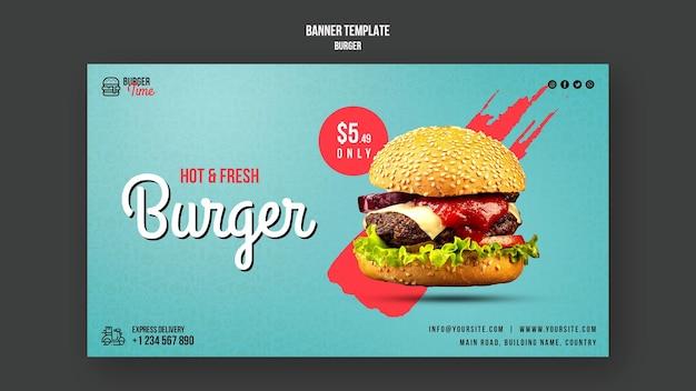 Modello di banner concetto di hamburger Psd Gratuite