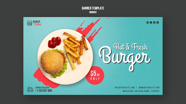 Шаблон баннера концепции бургера Бесплатные Psd