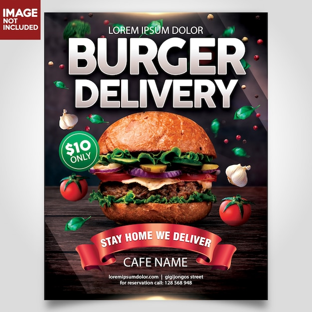Burger delivery flyer шаблон Premium Psd