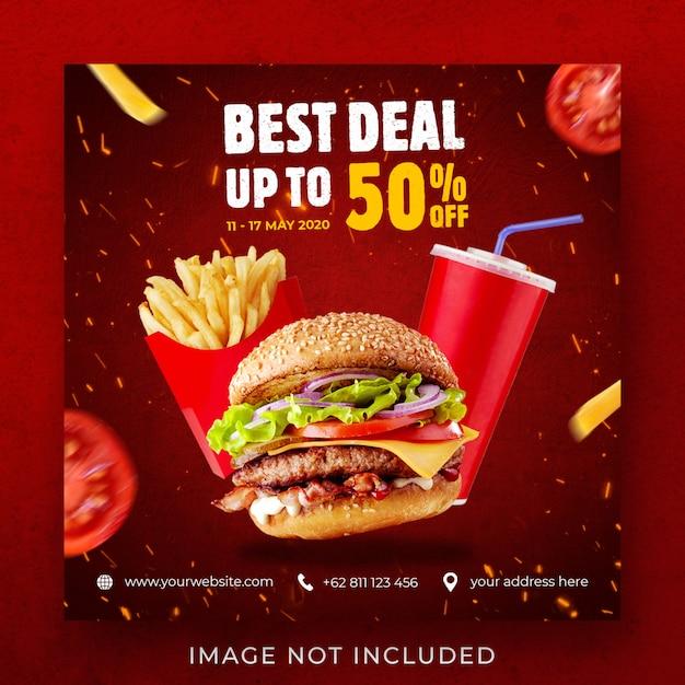 Burger food продвижение меню instagram пост баннер шаблон Premium Psd
