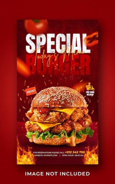 Burger food menu promotion social media instagram story banner template Premium Psd