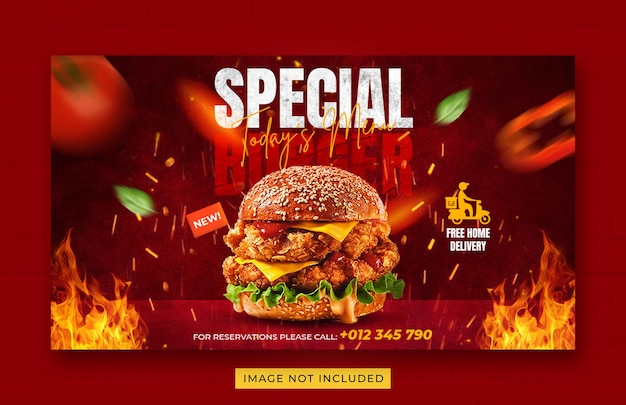 Burger food menu promotion web banner template Premium Psd