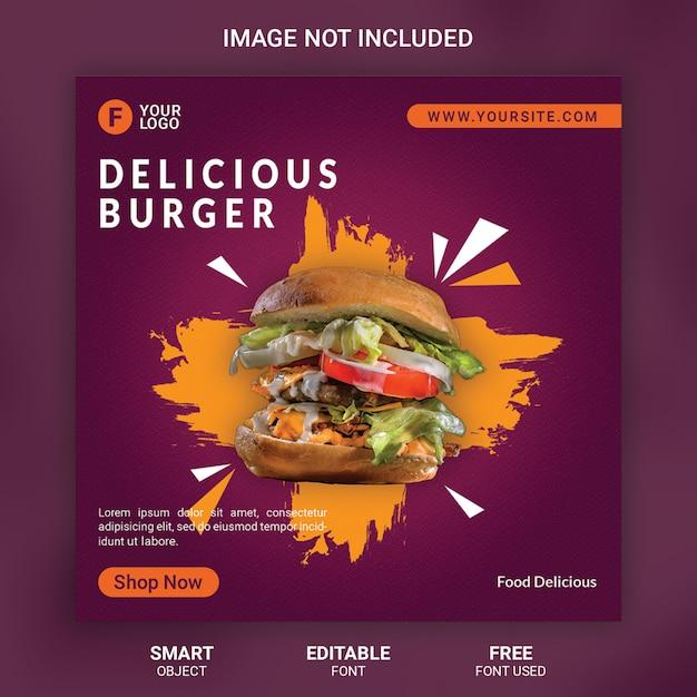 Burger food продвижение социальных медиа шаблон баннер Premium Psd