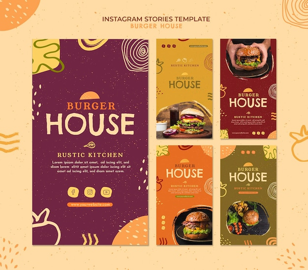 Burger house instagram stories template Free Psd