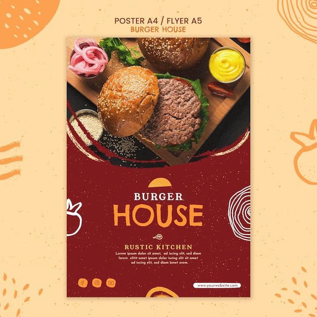 バーガーハウスのポスターテンプレート 無料 Psd
