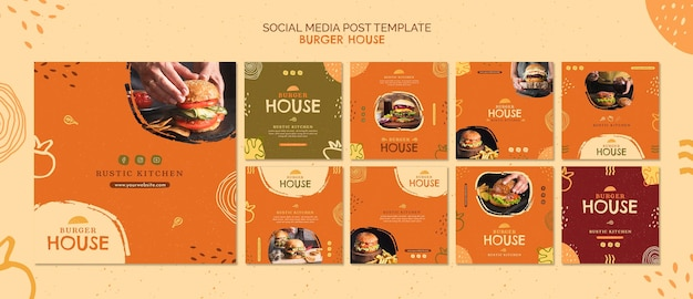 Шаблон сообщения в социальных сетях burger house Premium Psd
