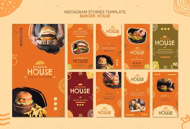 Burger house template instagram stories Free Psd