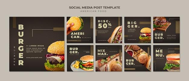 Шаблон сообщения burger instagram Бесплатные Psd
