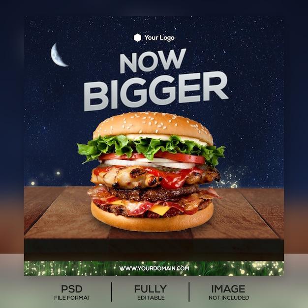 Шаблон сообщения burger instagram Premium Psd