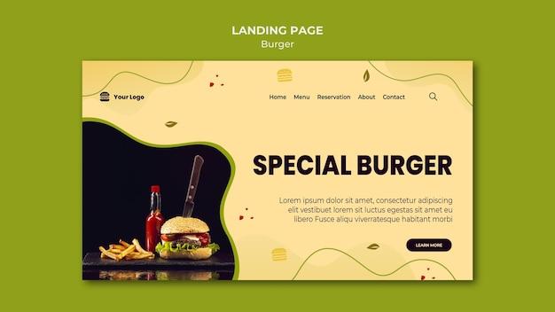 バーガーのランディングページテンプレート Premium Psd