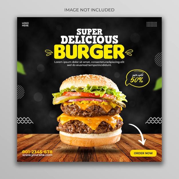 Burger menu promotion social media banner template Premium Psd