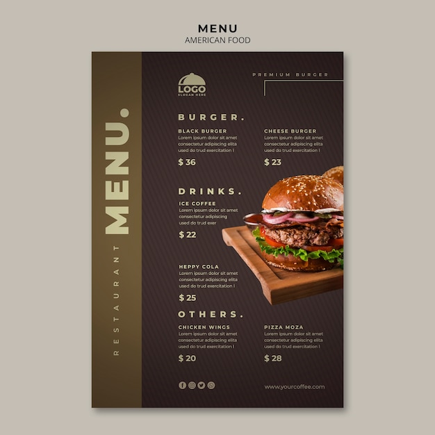 バーガーメニューテンプレート Premium Psd