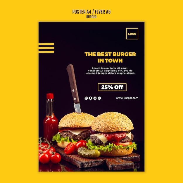 Шаблон плаката бургер Бесплатные Psd