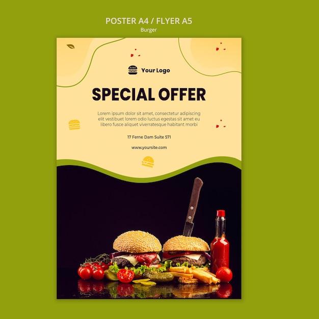 ハンバーガーポスターテンプレート Premium Psd