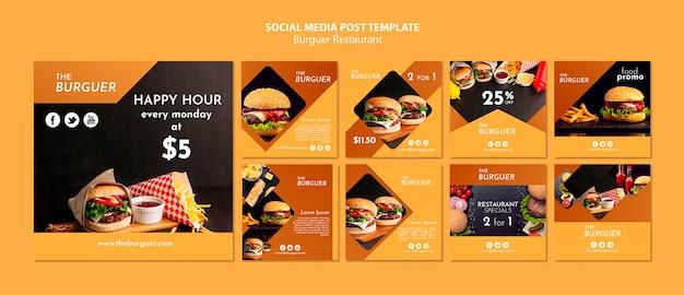 Burger restaurant social media post template Free Psd