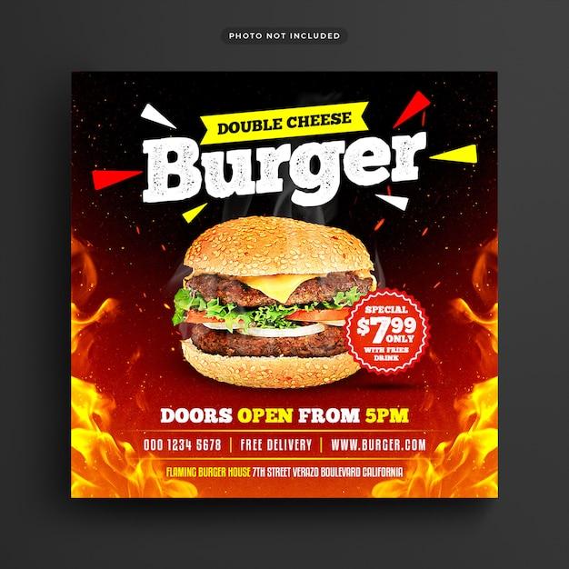 Burger restaurant social media post & web banner Premium Psd