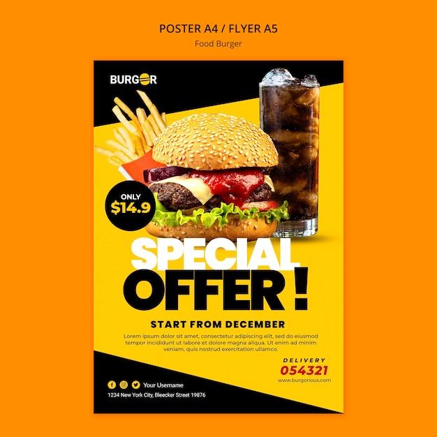 Modello di poster di offerta speciale hamburger Psd Gratuite